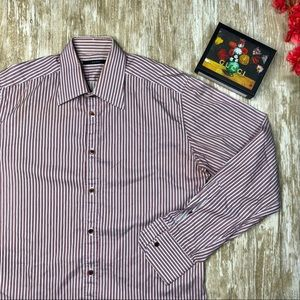 🇮🇹 {GUCCI} Mens 15.5 Red Striped Dress Shirt